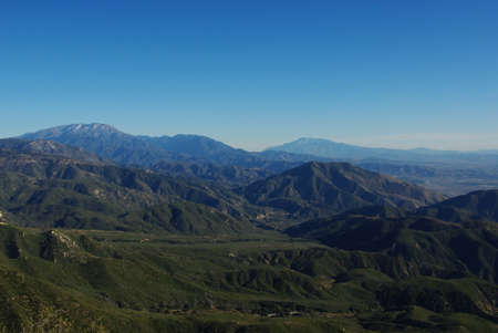 View on mountain chains and valleys from San Bernardino Mountains, California