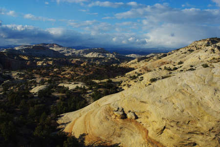 Early evening on beautiful rock formations and hills, Grand Stair Escalante National Monument, Utah Stock Photo