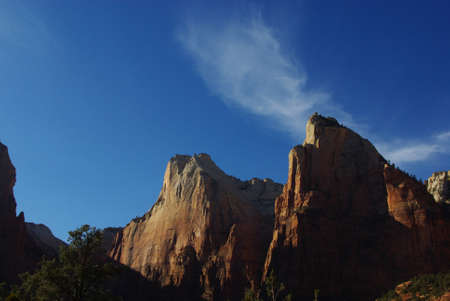Rock mountains, blue sky and clouds in the evening, Zion, Utah