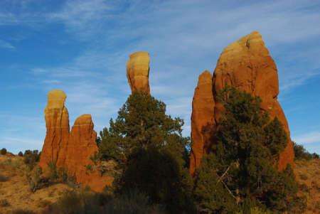 Curious rocks in the morning, Devils Garden, Utah