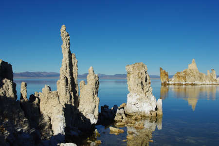 Interesting tufa formations on Mono Lake shore, California photo