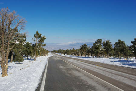 Highway from cold Mount Charleston to hot and dry desert, Nevada Stock Photo