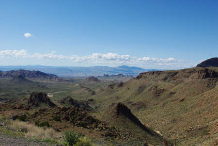View from beautiful section of Route 66 from Oatman to Kingman near Sitgreaves Pass, Arizona