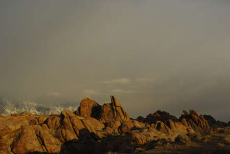 Alabama Hills on a foggy morning, California photo