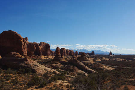 Rocks and high mountains, Arches National Park, Utah Stock Photo