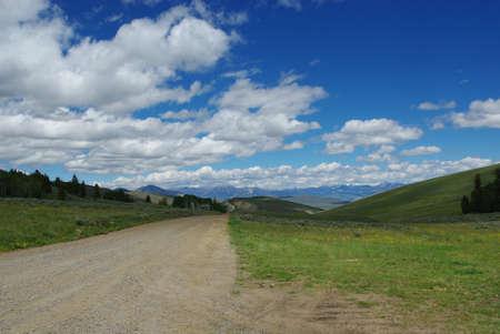 challis: Jeep road towards vast valleys and Hawley Mountains, Challis National Forest, Idaho Stock Photo