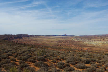 Wide view on secluded part of Arches National Park, Utah Stock Photo