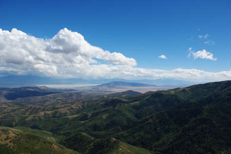 View of Utah Lake and mountains of Uinta National Forest from high road between Tooele and Herriman, Utah Stock Photo