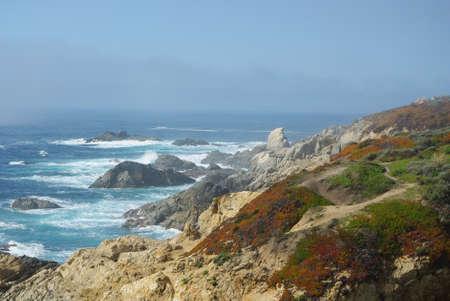 Fog and blue sky on Pacific coast, California Stock Photo - 14035652