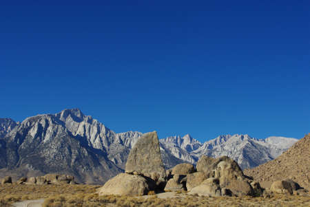Alabama Hills towards Sierra Nevada, California photo