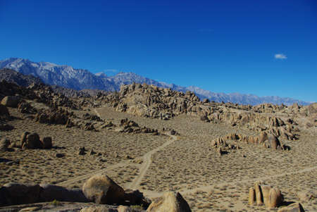 Sandy roads through the Alabama Hills, California photo