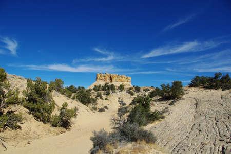 spencer: Entering a canyon near Spencer Flat Road, Utah Stock Photo