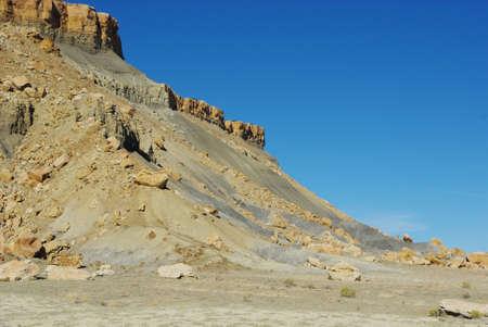Multicolored sandstone and rocks approaching Moore, Utah