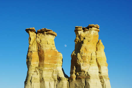 Rock towers and moon