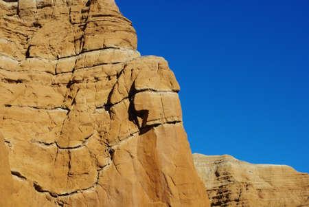 Orange rock wall and blue sky, Utah