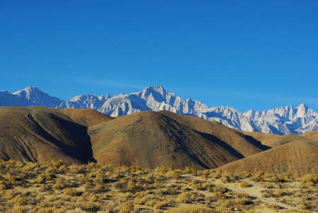 Brown hills and Sierra, California