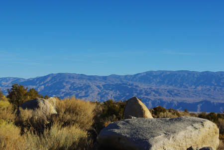 Rocks with Inyo Mountains view, California