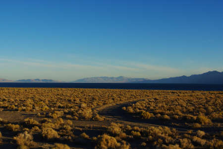 Sandy road to Pyramid Lake in the early morning