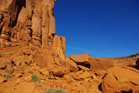 Orange rocks under blue sky