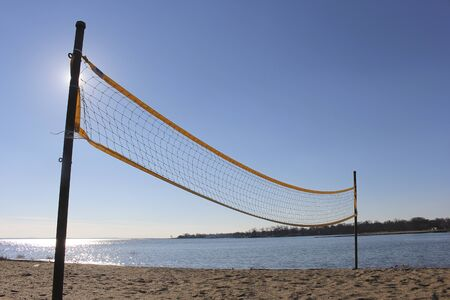 net: Volleyball net on beach Stock Photo