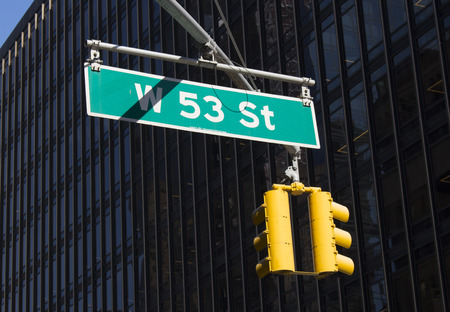 stoplights: New york city street sign and stop lights