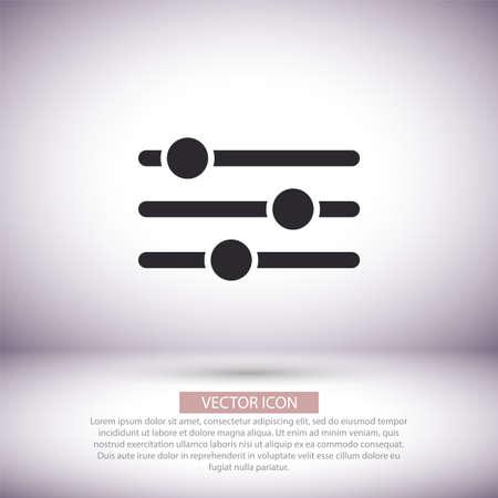 Settings music vector icon , lorem ipsum Flat design