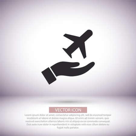 plane in the hand icon , lorem ipsum Flat design