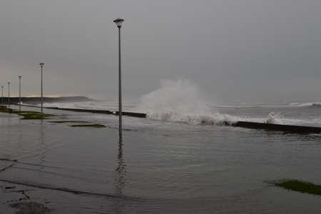 inundated: Coastal flooding Stock Photo
