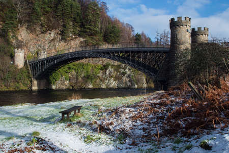 turreted: Thomas Telford iron span bridge at Craigellachie in Winter