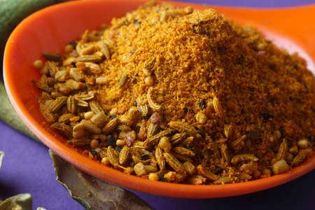 close up of indian achar masala with dry mango  slice Zdjęcie Seryjne