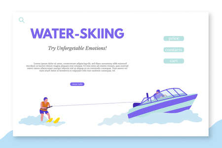 Water-skiing landing page template with text space. Tourist agency vector web banner layout. Beach activities for holidaymakers. Sea resort entertainments. Risky and dangerous water sports
