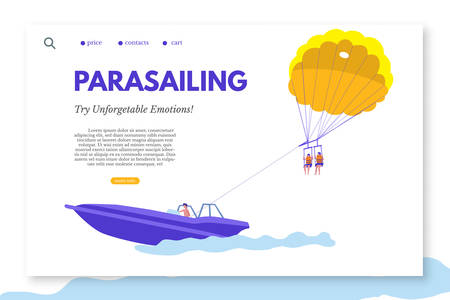 Parasailing landing page template with text space. Unforgettable experience. Sea resort and beach activities vector web banner layout. Active and adventure holiday idea. Summer vacation