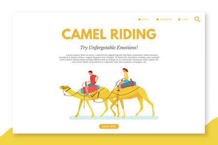 Camel riding flat vector landing page template. Egypt activities for tourists web banner layout with text space. Desert traveling illustration. Active date ideas for couple. Honeymoon vacation