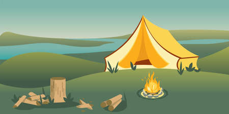 Camping tent on hill flat vector illustration. Picturesque panoramic landscape color drawing. River morning view. Tranquil and peaceful scenery. Bonfire, campfire. Active holiday on nature. Meadows