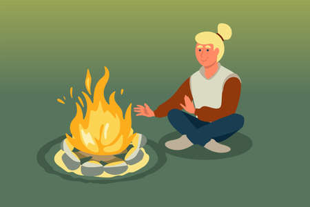 Woman sitting near bonfire vector illustration. Camping summer holiday isolated clipart. Female cartoon character warming hands at fireplace. Active vacation. Trekking, hiking design element