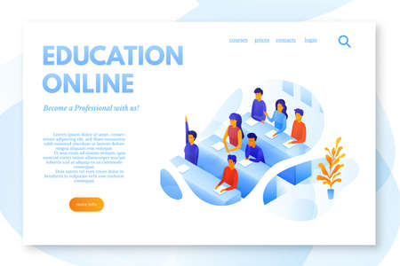 Online education flat landing page vector template. E-learning service website, webpage. Students in lecture hall, classroom cartoon characters. Online courses color web banner isometric illustration Illusztráció