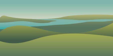 Picturesque panoramic landscape color illustration. Hills and blue river morning view. Tranquil and peaceful scenery backdrop. Minimalistic nature background. Green gradient meadows, fields panorama Ilustrace