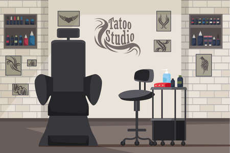 Tattoo studio interior flat vector illustration. Stylish modern empty beauty salon. Tattoos cool black sketches hanging on brick wall. Tattoo machine and inks. Tools and equipment cartoon drawing