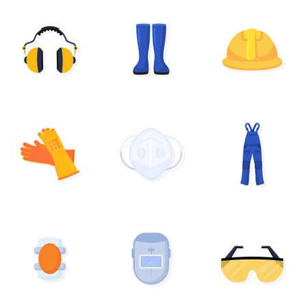 Welder uniform vector illustrations collection. Worker, builder safety equipment. Handyman blue overall. Welding helmet and glasses. Protective gear, wear, gloves isolated design element Vetores