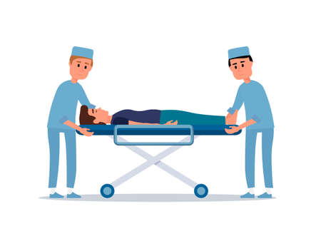 Patient on stretcher flat vector illustration. Emergency doctors helping unconscious man. Paramedics in uniforms cartoon characters. Seriously injured person. Ambulance, first aid. Hospital staff