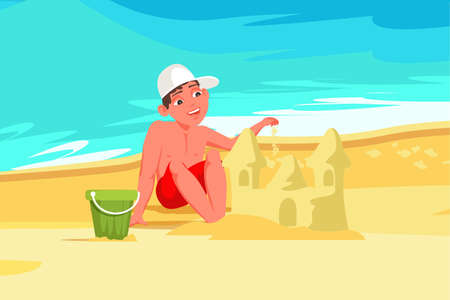Boy building sandcastle flat vector illustration. Child play on beach cartoon character. Summer vacation. Sea, waves, sand castle. Childhood entertainment, leisure. Childrens outdoor activity Illustration