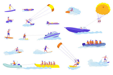 Water sports cartoon vector illustrations set. Active holiday. Adventurous holidaymakers flat characters on vacation. Sea resort outdoor activities ideas cliparts collection. Dangerous and risky Illustration