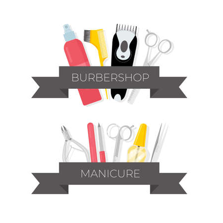 Barbershop and manicure tools illustrations set. Hairdresser salon professional equipment with ribbon and text. Nail salon. Beauty industry. Pedicure instruments isolated cliparts. Scissors, polish Ilustrace