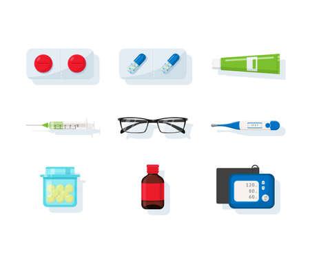 Drugstore assortment flat vector illustration set. Pharmacy and medicine. Painkillers, antibiotics. Disease treatment cartoon clipart. Pills, medications, vitamins in capsules isolated design element