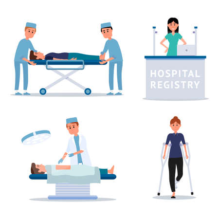 Hospital staff and patients flat illustrations set. Surgeon in operating room vector clipart. Nurse, paramedic helping injured man isolated design element. Emergency service. Medicine and healthcare