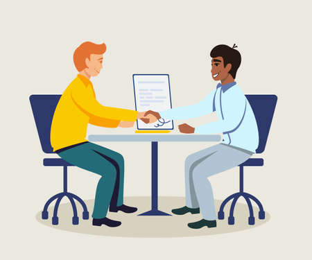Business partners making agreement illustration. Colleagues shaking hands at workplace. Cartoon characters sitting at desk in office. International partnership. Successful deal. HR agent and candidate