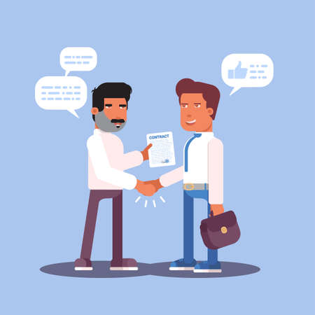 Job interview flat vector illustration. Employer and candidate cartoon characters. Deal, agreement. Men handshaking, discussing contract of employment. Headhunting isolated design element