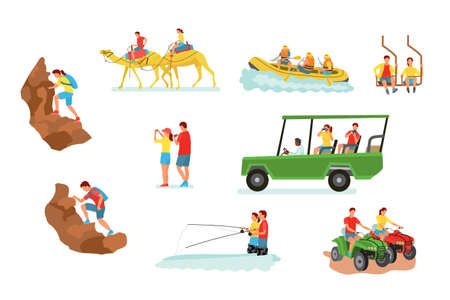 Active travel cartoon vector illustrations set. People hiking with backpacks flat clipart. Extreme sport, adventure isolated design element collection. Quad bike ride. Tourist with camera