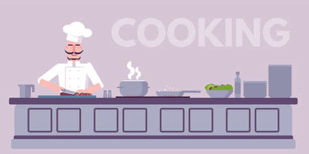Culinary workshop flat vector illustration. Chef cooking delicious food cartoon character. Professional restaurant kitchen interior. Meal preparation process. Cafe, catering service banner idea Illustration