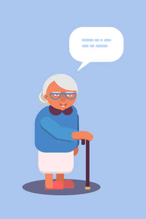 Old lady with walking stick flat illustration. Hoary elderly woman in glasses cartoon character. Smiling granny color drawing with text cloud, speech bubble. Nursing home isolated design element Иллюстрация